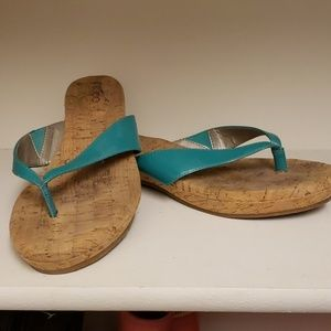 Me Too teal cork flip flops